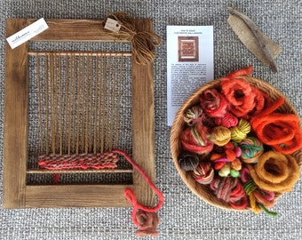 Weaving Kit (L), Learn to Weave, Weave Wall Hanging, Beginners Loom, Tapestry, Handspun Yarn, Loom Weaving, Craft Kit, Orange, Red