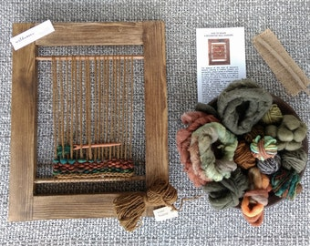Weaving Loom Kit (L), Woven Wallhanging, Learn to Weave, Tapestry, Craft Kit, Beginners Weaving Kit, Green Wool, Fair Trade