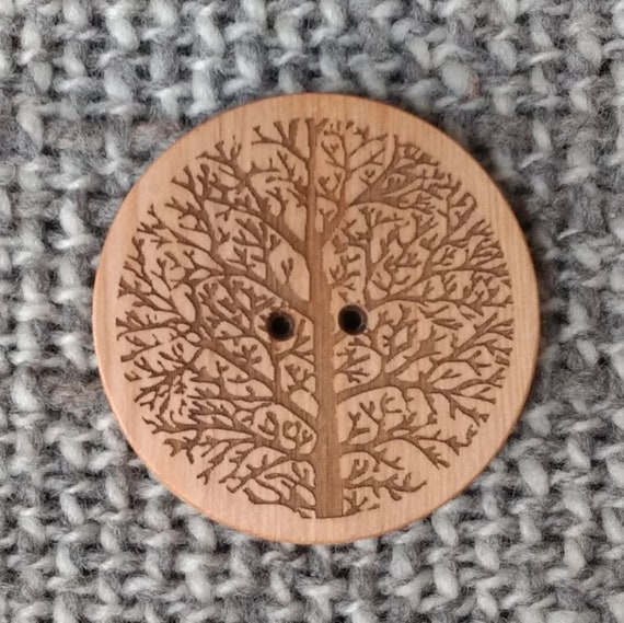 TWO x Extra Large Brown Boho Patterned Buttons 60mm Various Patterns Free UK P/&P