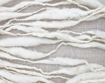 Handspun Art Yarn, Thick and Thin Wool for Weaving, Natural White