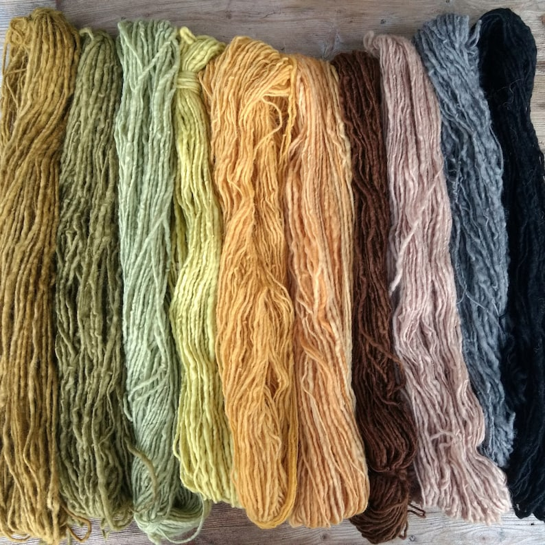 Yarn Sale - Naturally Dyed Handspun Yarn Bundle, Plant Dyed Wool, Discount  Yarn