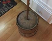 Primitive Large Vintage Hand Crafted Old Oak Wooden Slat Banded Butter Churn With Lid And Dasher
