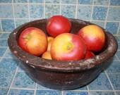 Antique primitive salt glazed mixing bowl kitchenware country kitchen décor with Artificial apples