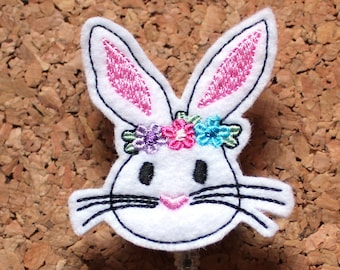 Bunny Badge Reel, Id Card Holder, Retractable Felt Badge Holder, Lanyard, Badge Pull, Gifts for Hospital Staff, The Badge Patch 872