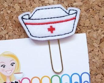Nurse Hat Planner Clip, Felt Paper Clip, Refrigerator Magnet, Cute Brooch Pin, Planner Accessories, Ribbon Bookmark,The Book Nook Patch, 243