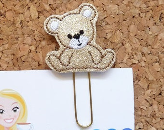 Planner Clip, GLITTER Bear,  Felt Paper Clip, Refrigerator Magnet, Cute Brooch Pin, Planner Accessories, Bookmark, Badge Reel, Lanyard 819
