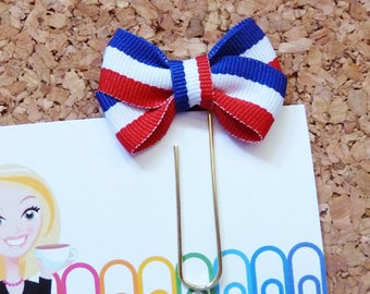 Patriotic Planner Clip, Red White Royal Stripe, Bookmark, Christmas Paper Clip, Organizer, Calendar, Paper Holder, 4th of July, Book Nook