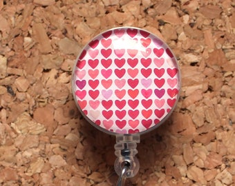 Hearts Badge Reel, Pink Id Card Holder, Retractable Badge Holder, Lanyard, Badge Pull, Gifts for Hospital Staff, Glass  Dome1585