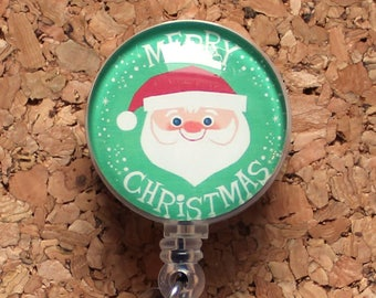Christmas Badge Reel, Santa Id Card Holder, Retractable Badge Holder, Lanyard, Badge Pull, Gifts for Hospital Staff, Glass Dome  1580