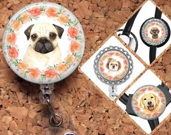 Dog Badge Reel, Retractable ID Holder, Lanyard, Pug, Dachshund, Shitz Tzu, Card Holder, Carabiner, Stethoscope Tag, The Badge Patch, Mylar