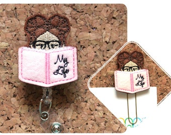 Book Girl Badge Reel ID Holder, Planner Clip, Bookmark, Key Ring, Charm, Pin, Paperclip, Magnet, Ornament, Hair Clip, Headband, 1429