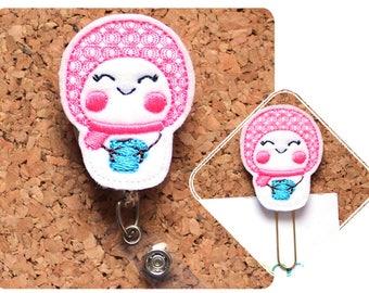 Snow Girl Retractable Badge Reel, Id Card Holder, Lanyard, Planner Clip, Badge Clip, Pin, Teacher Gift, Gifts for Nurses, RN, LPN, 1644