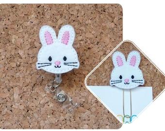 Easter Badge Reel, Felt White BUNNY Rabbit ID Badge Reel, Lanyard, Retractable Name Holder, Planner Clip, Magnet, Brooch Pin, 486