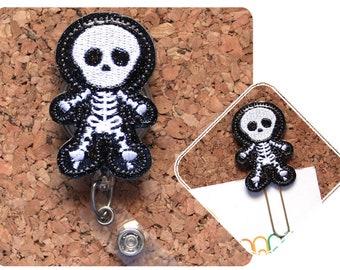 Skeleton Badge Holder, GLITTER, Halloween Planner Paper Clip, Retractable Badge, Lanyard, Magnet, Pin, X-Ray Tech, Radiologist, 1654
