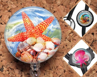 Seashore Badge Reel ID Holder, 30 Different Designs,  Lanyard, Carabiner, Stethoscope Tag, Yoke Tag - Fits all including Littman, Mylar