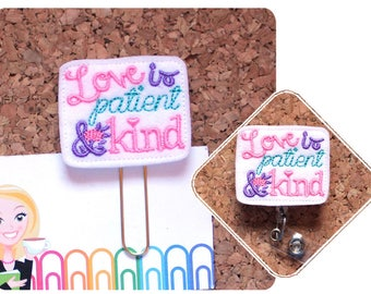 Planner Clips, Badge Reels, Love is Patient, Id Card Holder, Retractable Lanyard, Paperclips, Kitchen Magnets, Bookmarks, Cute Pins, 1641