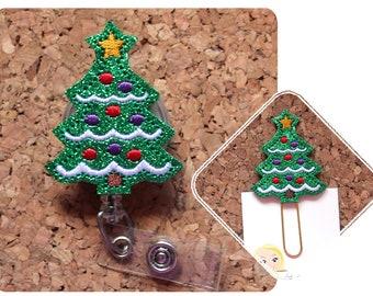 Christmas Tree Badge Reel, Lanyard, Planner Clip, Keychain Charm, Pin, Paperclip, Magnet, Ornament, Hair Clip, Cute Badge Holder, Vinyl 1820