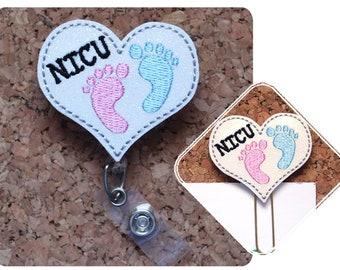 NICU Baby Feet Heart Badge Holder, GLITTER, Planner Paper Clip, Retractable Badge, Lanyard, Magnet, Pin, Bookmark, ID Badge Reel, 1655