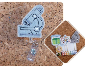 Science Badge Reel, MICROSCOPE, Laboratory Felt Badge Reel, Planner Clip, Magnet, Pin, Bookmark, Hair Clip, Key Ring, Scientist Badge,  856