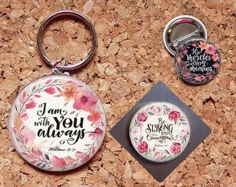 Christian Magnet, Bible Verse, Key Ring, Brooch Pin, Key Chain, Refrigerator Magnets, Christian Magnets, Inspirational Christian Gift