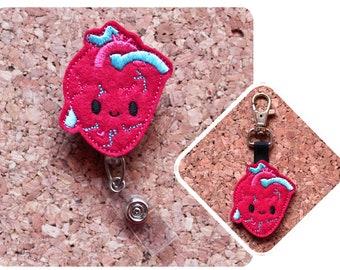 Red Heart Rhythm Black Retractable ID Tag Badge Reel by Geek Badges