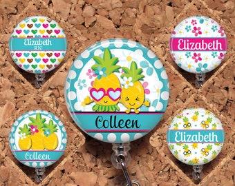 Pineapple Badge Reel ID Holder, Personalized, Lanyard, Carabiner, Stethoscope Tag, Yoke Stethoscope Tag - Fits Littmann, RN Gift, Mylar