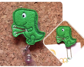 Dinosaur Badge Reel Id Holder, OT Lanyard, Planner Clip, Bookmark, Key Ring, Pin, Paperclip, Magnet, Occupational Therapist Gifts, 1799