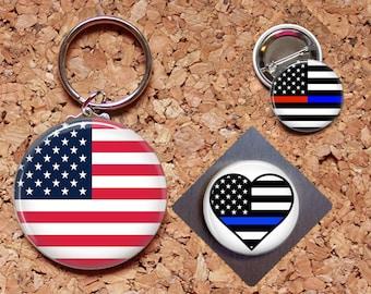 Patriotic Key Chain, Magnet, Police Key Chain, Fireman Pin, Refrigerator Magnet, Key Ring, Brooch Pin, Fridge Magnet, Key Holder, Support