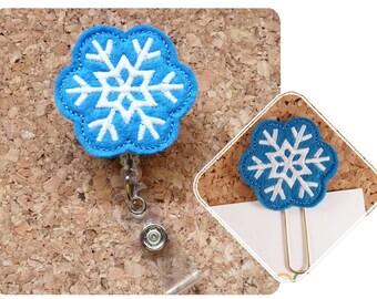 Blue Snowflake Badge Reel, Christmas ID Badge Reel, Felt Badge Reel, Retractable Name Holder, Nurse, Teachers, Office Workers, 184