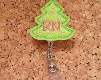 Christmas Badge Reel, RN Tree ID Badge Reel, Felt Badge Reel, Retractable Name Holder, Nurse, Teachers, Office Workers,  459