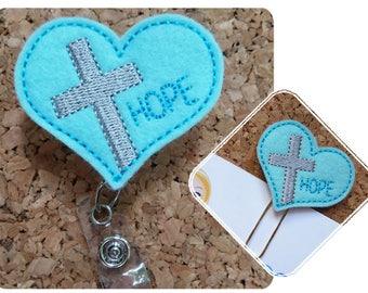 Hope Cross Heart Badge Reel, Christian Planner Clip, Felt Badge Reel, Paper Clips for Planners, Lanyard, Retractable Name Holder, 319 493