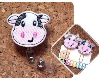 Cow Badge Reel Id Holder, Planner Clip, Bookmark, Keychain, Pin, Paperclip, Magnet, Cute Badge Reel, Nurse Badge Reel, Retractable, 1826