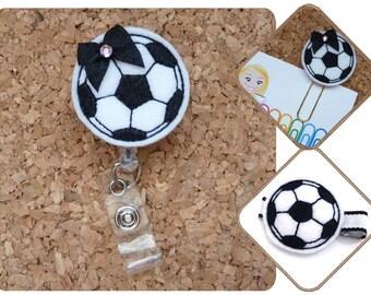 Soccer Ball Badge Reel, Soccer , Sport ID Badge Reel, Felt Badge Reel, Retractable Name Holder, Felt Hair Clip, Planner Clip, Magnet 188