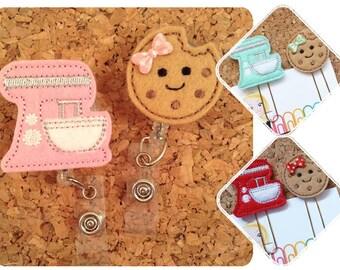 Planner Clips, Badge Reels, Mixer or Cookie, Food Badge Reel, Felt Lanyard, Kitchen Magnet, Red 451, Pink 450, Mint 670, Cookie 1314