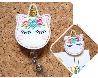 Unicorn Badge Reel, Planner Clip, Cute ID Badge Reel, Felt Badge Reel, Lanyard, Retractable Name Holder, Magnet, Brooch Pin, Gold Horn 1251
