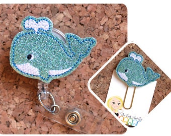 Preppy Blue Whale Retractable ID or Key Badge Reel