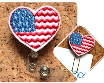 Patriotic Heart Badge Reel, Badge Reel, Lanyard, Planner Clip, Bookmark, Key Ring, Charm, Pin, Magnet, Ornament, Hair Clip, Headband, 1349