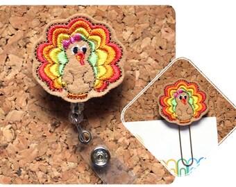 Turkey Badge Reel, Id Card Holder, Retractable Felt Badge Holder, Thanksgiving Lanyard, Gifts for Nurses, Planner Clip, Magnet, 1445