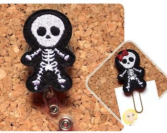Xray Badge Reel, SKELETON ID Radiology Badge Reel, Felt Badge Reel, Cute Badge Reel, Xray Technician, Planner Clip Magnet Pin Bookmark 389