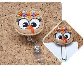 Turkey Badge Reel, Thanksgiving Badge Reel, Felt Badge Reel, Retractable Name Holder, Nurse Gift, Office Gift, Teacher Gift, Paperclip 691