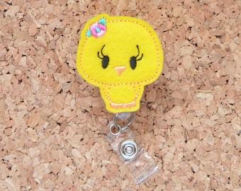 Easter Badge Reel, Felt Yellow Chick ID Badge Reel, Lanyard, Retractable Name Holder, Planner Clip, Magnet, Pin, 588