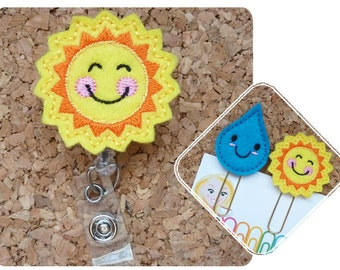 Sun Badge Reel, Happy Sunshine ID Badge Reel, Felt Badge Reel, Retractable Name Holder, Planner Clip, Magnet, Pin,  Hair Clip, Headband, 201