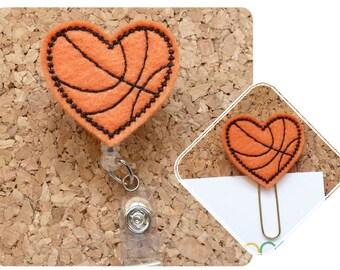 BASKETBALL Heart Badge Reel Sports Felt Badge Holder ID Card Clip Basketball Lanyard Peds RN Retractable Badge Clip Magnet Paperclip 742