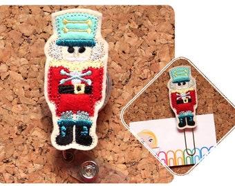 NUTCRACKER Retractable Badge Reel, Id Card Holder, Felt Badge Holder, Lanyard, Gifts for Teachers, Gifts for Nurses, Stocking Stuffer, 1510