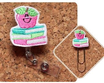 Badge Reel Id Holder Book Stack Lanyard Planner Clip Bookmark Key Chain Pin Magnet Nurse Badge Reel Cute Felt Badge Reel Teacher Gift 1890