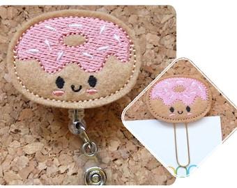 Donut Badge Reel, ID Badge Reel, Felt Planner Clip, Retractable Lanyard, Magnet, Bookmark, Pin, RN Gift, Teacher Gift, Doughnut,  116