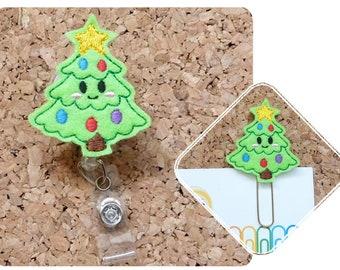 Christmas Badge Reel, KAWAII Tree Christmas Felt Badge Reel, Hair Clip, Headband, Magnet, Planner Clip, Stocking Stuffet, Ornament, Pin 678