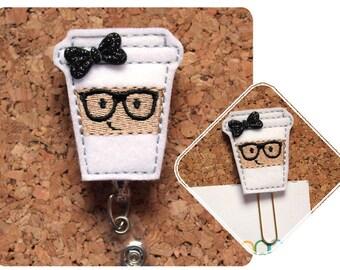 Badge Reels, Nerd COFFEE Badge Reel, Geeky FELT Badge Reel, Planner Clip, Magnet, Pin, Bookmark, RN Gift, Teacher Gift, Office,  Black 1713