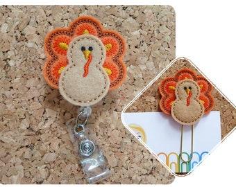 Fancy TURKEY Badge Reel, Thanksgiving Badge Reel, Felt Badge Reel, Nurse Gift, Teacher Gift, Planner Clip, Magnet, Pin, Bookmark, Charm, 239