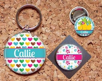 Hearts Magnet, Pineapple Key Chain, Flowers Pin, Refrigerator Magnet, Key Ring, Brooch Pin, Fridge Magnet, Key Holder, Stocking Stuffer,